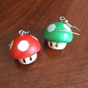 Super Mario Mushroom Dangly Earrings