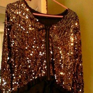 Gap Designer Sequin Black Zip Up Jacket