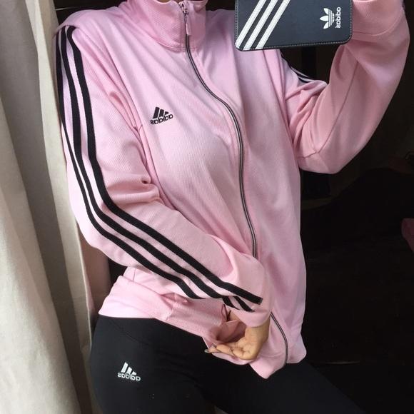 Adidas Jackets   Blazers - Baby pink adidas zip up jacket e8e859784f