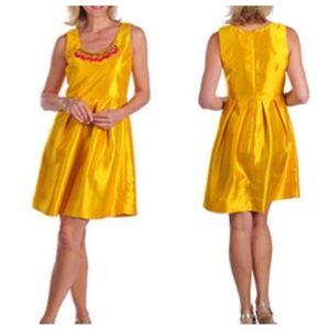Miss Sixty Yellow Dress with Pink Jewel Neckline
