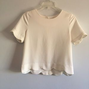 White scallop crop top