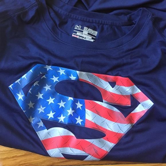 Under Armour Shirts Mens Superman American Flag Top Poshmark