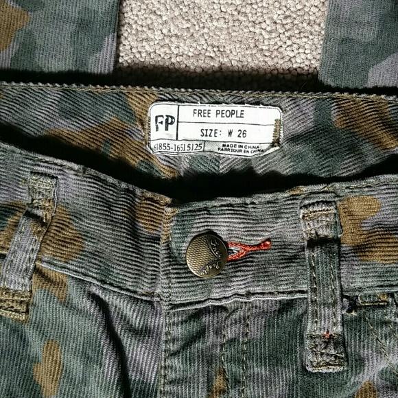 77% off Free People Pants - Free People Camo Corduroy Pants Size ...