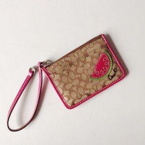{Coach} Watermelon Monogram Mini Wallet