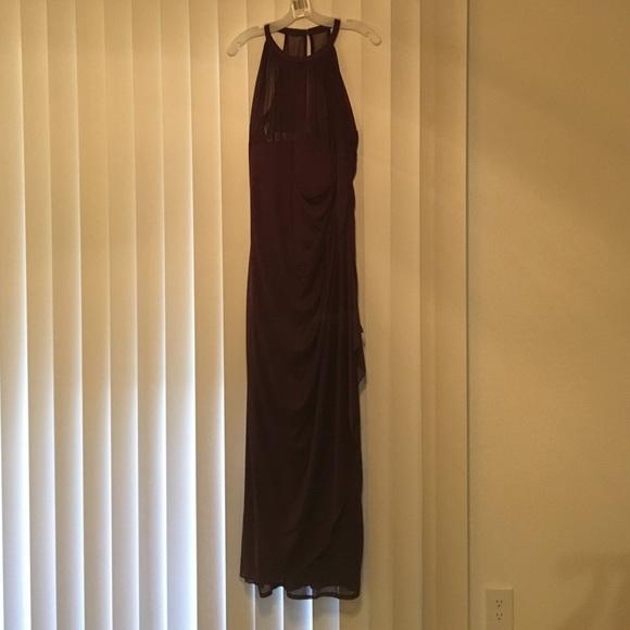 Long mesh dress with illusion neckline f15662