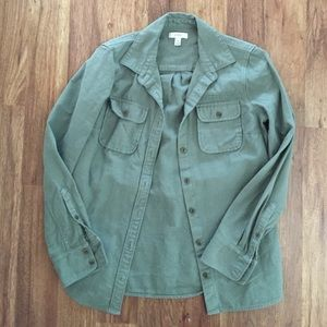 Jcrew boyfriend style green military shirt