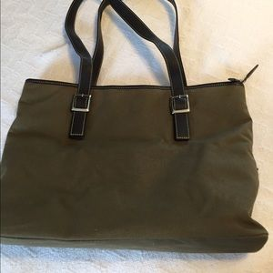 Handbags - Levenger forest green and orange bag.