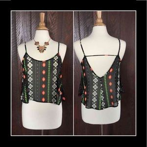 Tops - woven sheer Aztec print top M or L