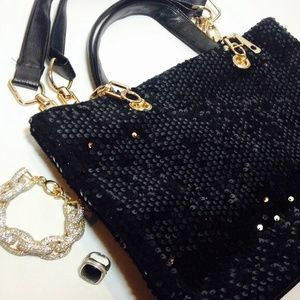 Boutique Handbags - Black Sequin Gold Chain Satchel Handbag