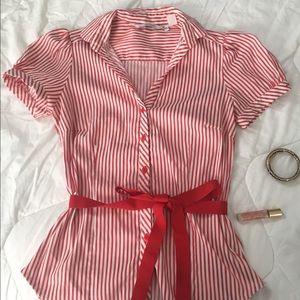 Striped print button up shirt.