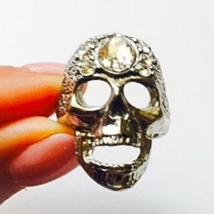 Enlightened Skull Swarovski Crystal Pewter Ring 7