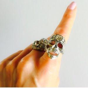 Swarovski Crystal Skull Cocktail Pewter Ring 7