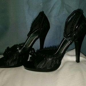 Size 10 SEXY black ankle strap satin heel