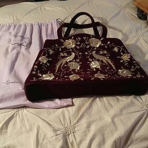 Handbags - Lulu Guinness Velvet ZipTop Purse
