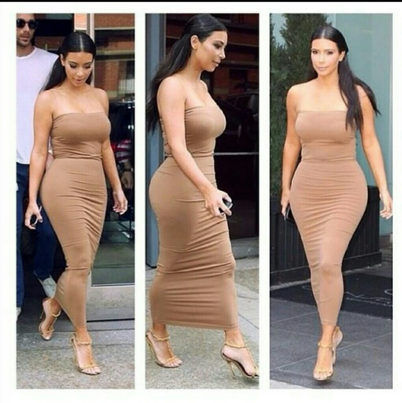 cd9b21e76a0 Suede strapless midi bodycon dress Kim Kardashian
