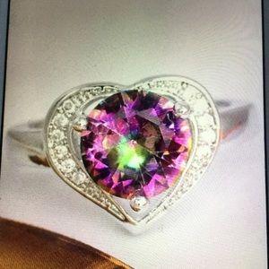 Rainbow CZ heart ring. 925 SS