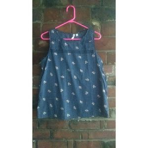 Navy and Floral Dotted Top by Frenchi