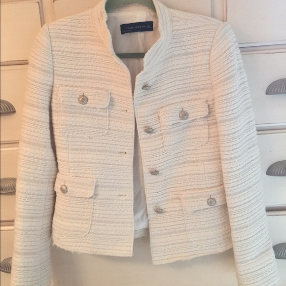 Best Zara Jackets & Coats | Chanel Style Cream Boucle Blazer | Poshmark VY45