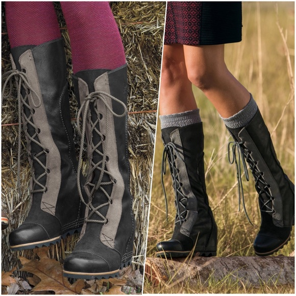 cde4c1517fb9 Black Leather Tall Wedge Lace Up Rain Snow Boots