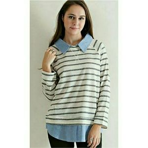 Striped French Terry Sweater Top
