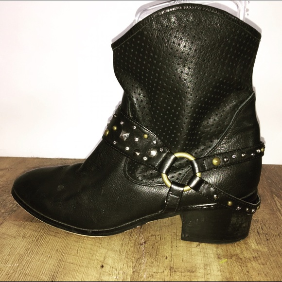 2db16a2653 Twiggy london Shoes | Black Leather Studded Ankle Boots | Poshmark