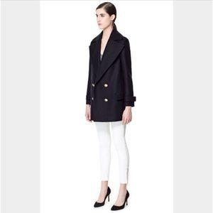 ZARA navy blue sailor pea coat blazer jacket
