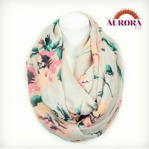 THE AURORA CO. Watercolor Floral infinity scarf