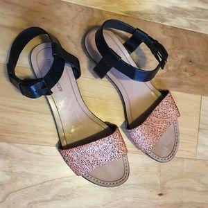 Rebecca Minkoff black patterned leather sandals