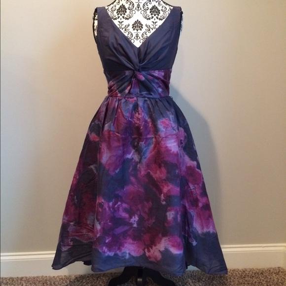 Neiman Marcus Dresses | Lela Rose Black Purple Dress Nwt | Poshmark