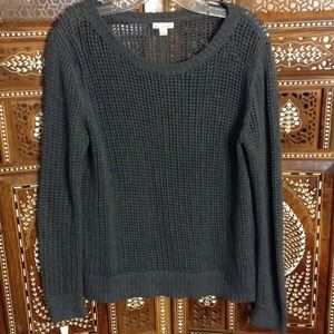 GAP Sweaters - Loose knit cotton pullover sweater, gunmetal gray