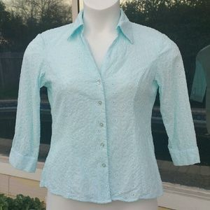 Allison Morgan Tops - (C6) Allison Morgan Baby Blue Button Up Blouse