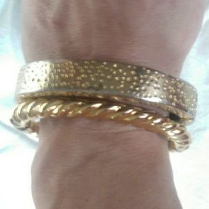 Kenneth Jay Lane Jewelry - Vtg Kenneth Jay Lane Gold Textured Bangle Bracelet