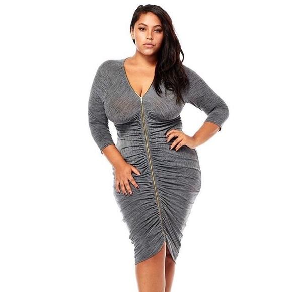 Dresses Gray Plus Size Bodycon Dress Poshmark