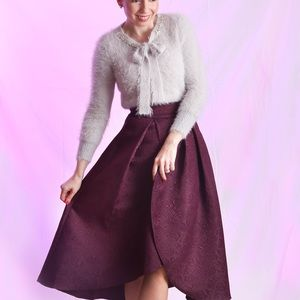 Dresses & Skirts - tulip embossed midi skirt in plum