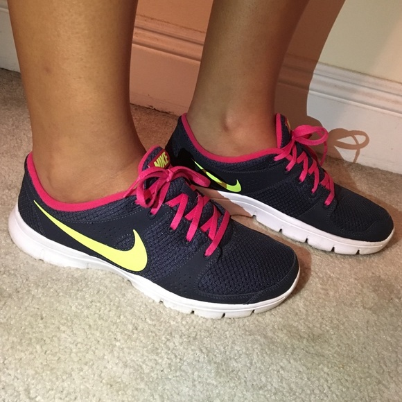 Nike Shoes Flex Trainers Size 8 Navy Pink Lime Poshmark
