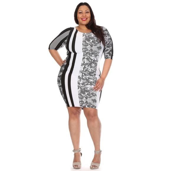 Dresses | Black White Plus Size Bodycon Dress | Poshmark