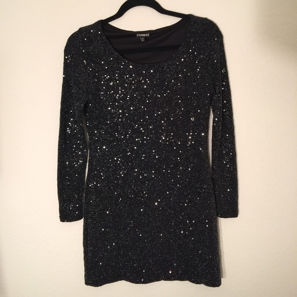 f3617e1572edf Express Dresses | Black Long Sleeve Sequin Dress | Poshmark