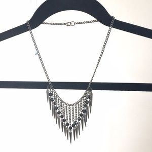 NEW ASOS pewter spike statement necklace