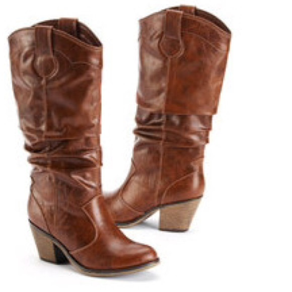 50 shoes slouch cowboy boots brown