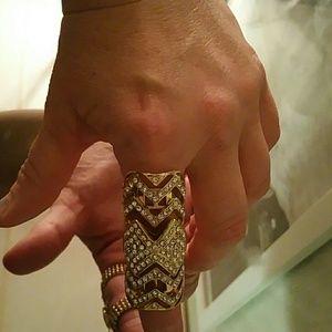 Gold plated full finger ring