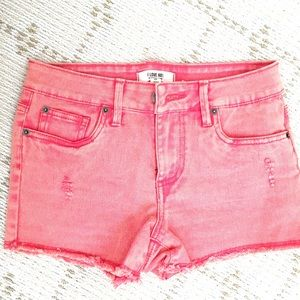 NEW Forever21 neon orange red denim shorts