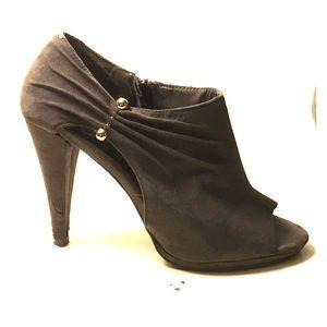 Ann Marino Shoes - Ann Marino Grey Peep-Toe Heels