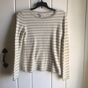 Grey and White Striped Old Navy Sweater M