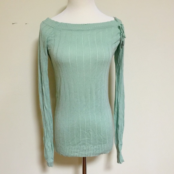 67% off Industry Sweaters - Industry-light green off shoulder ...