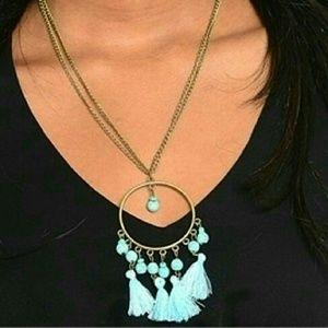Boho chic turquoise bead fringe tassel necklace