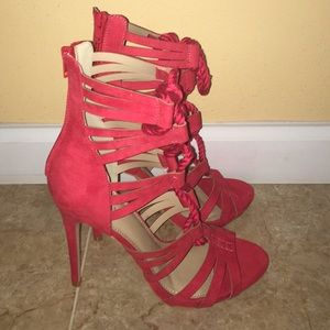 Red Faux Suede Lace Up Sandals