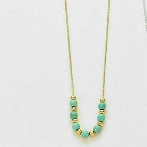 Gold & turquoise mini beaded necklace NWT