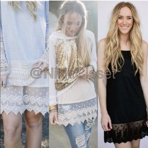 New lace slip dress tunic top extender midi tank