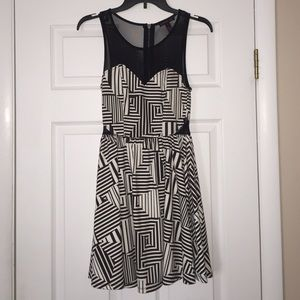 Material Girl Dresses & Skirts - HP🎉 Black & White Asymetrical Pattern Party Dress