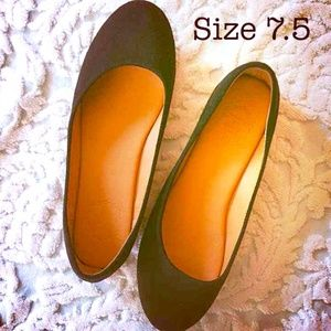 Black Suede and Leather Flats Size 7.5 by Ollio